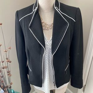 WHBM Black Jacket with White Piping